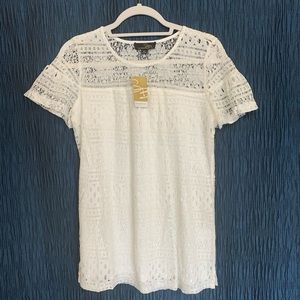 Suzanne Betro lace short sleeve top. New with tags